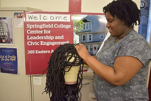 Adutwum's passion and skill for braiding hair assisted in the production of making the wigs. Her overall goal was to make at least four wigs that she could donate to the Cancer House of Hope.