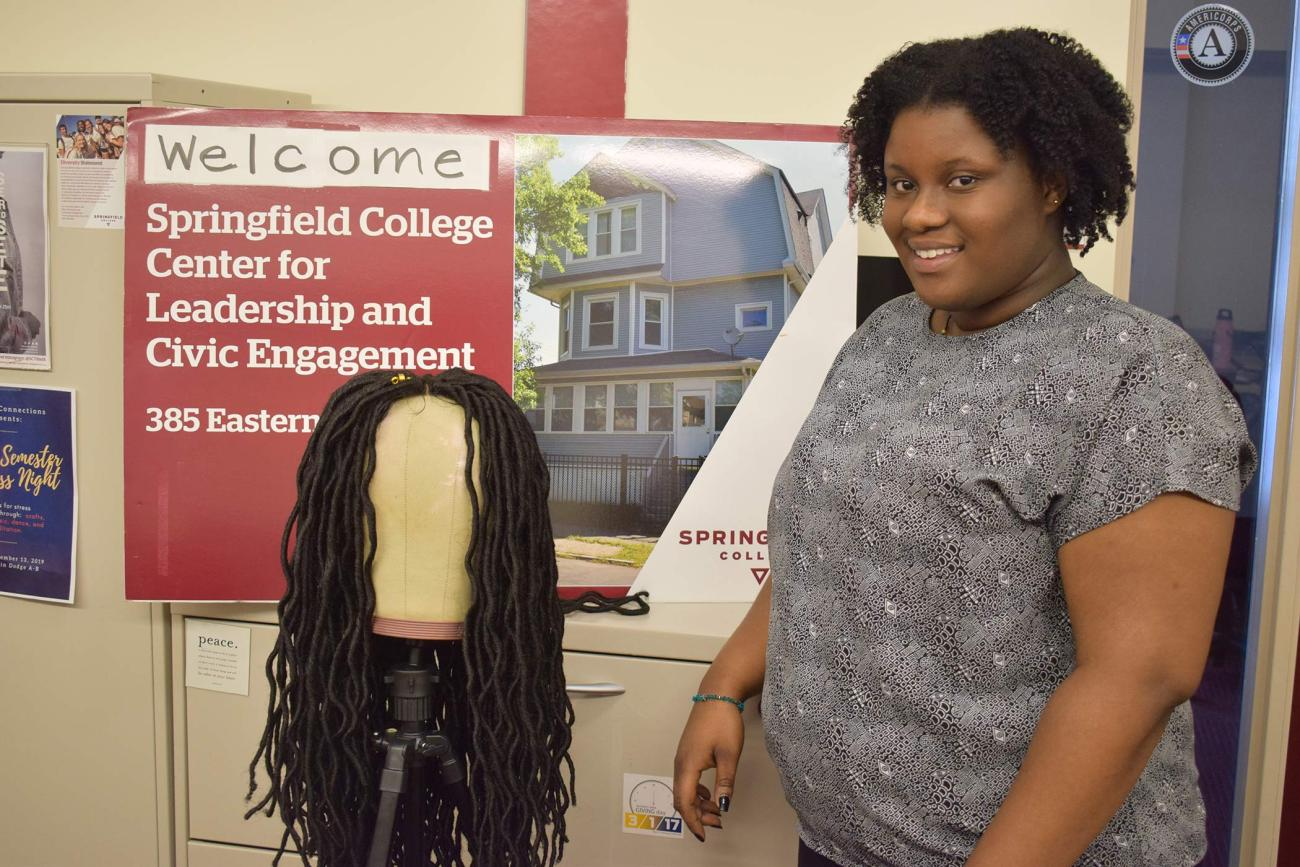Springfield College Health Care Management major Charlene Adutwum is living our Humanics philosophy by helping make wigs for women of color that will be donated to the Cancer House of Hope in West Springfield.
