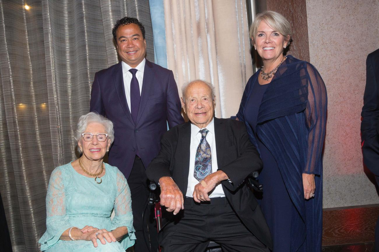 Helen Blake, G'67, MGM Springfield President Mike Matthis, Prestley Blake, and President Cooper at the Gala