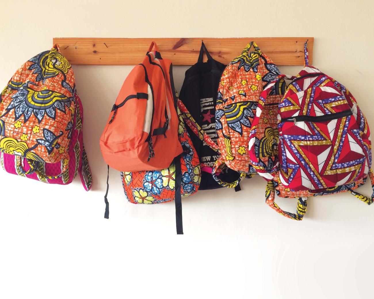 Backpacks in Kitenge fabric that is typical of Rwanda