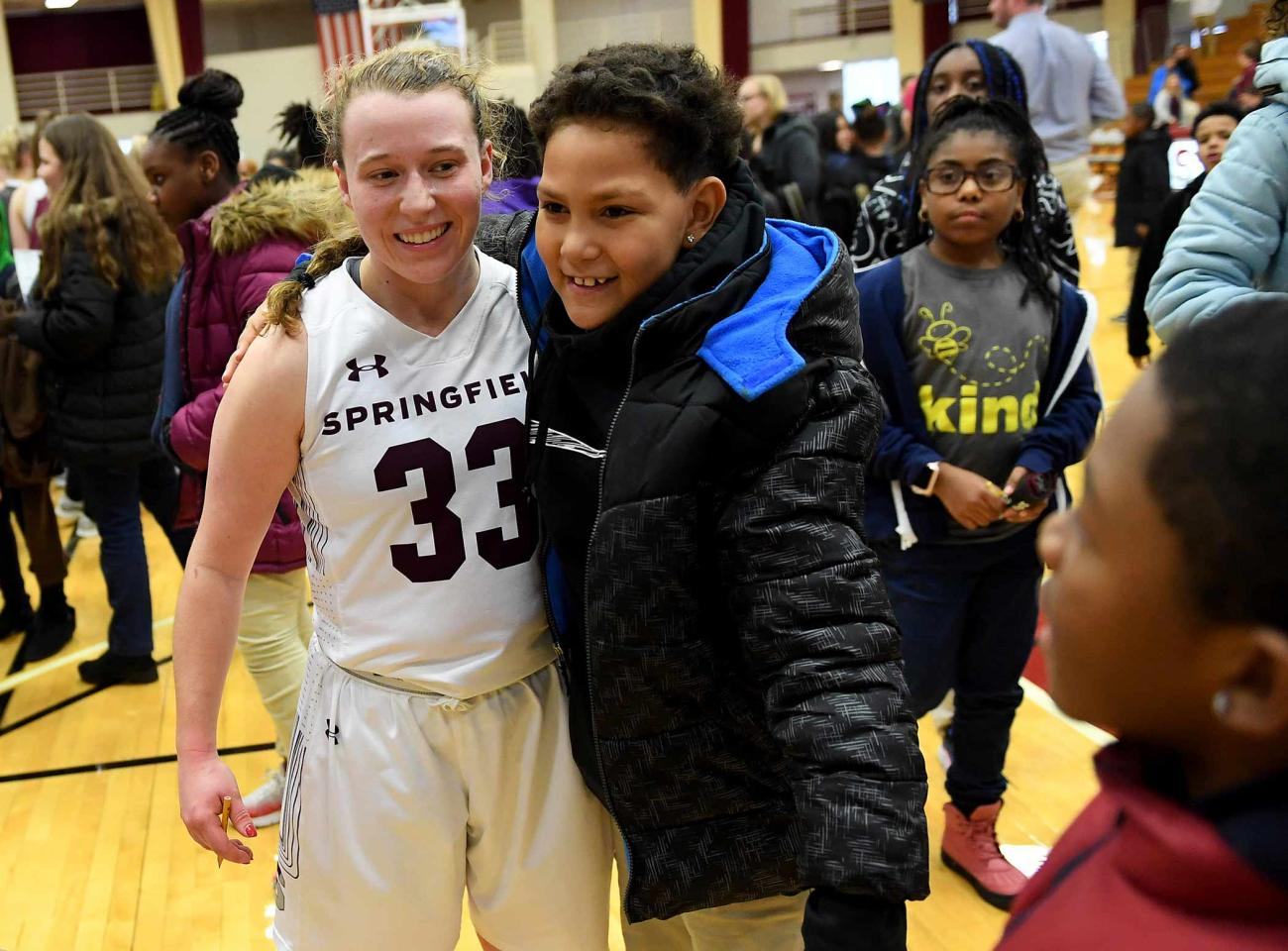 The Springfield College Division of Inclusion and Community Engagement, along with Springfield College Athletics, welcomed more than 250 students from Elias Brookings, William N. DeBerry, and Walsh Elementary Schools on Tuesday, Jan. 7 at Blake Arena when the Pride hosted Smith College.