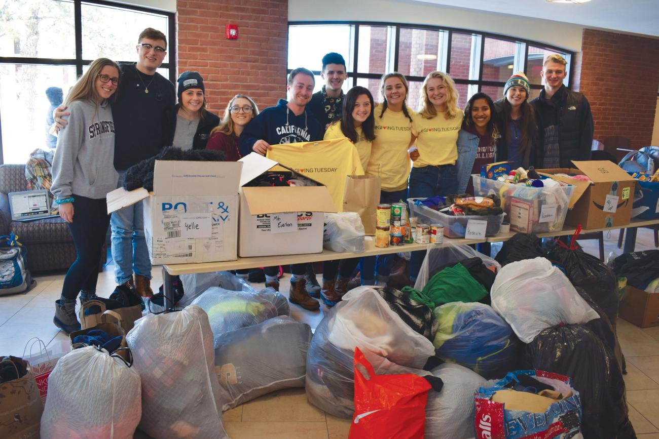 Two student groups — Rachel's Challenge and the Leadership Training Conference — led a clothing and food drive for local shelters as part of Giving Tuesday 2019.