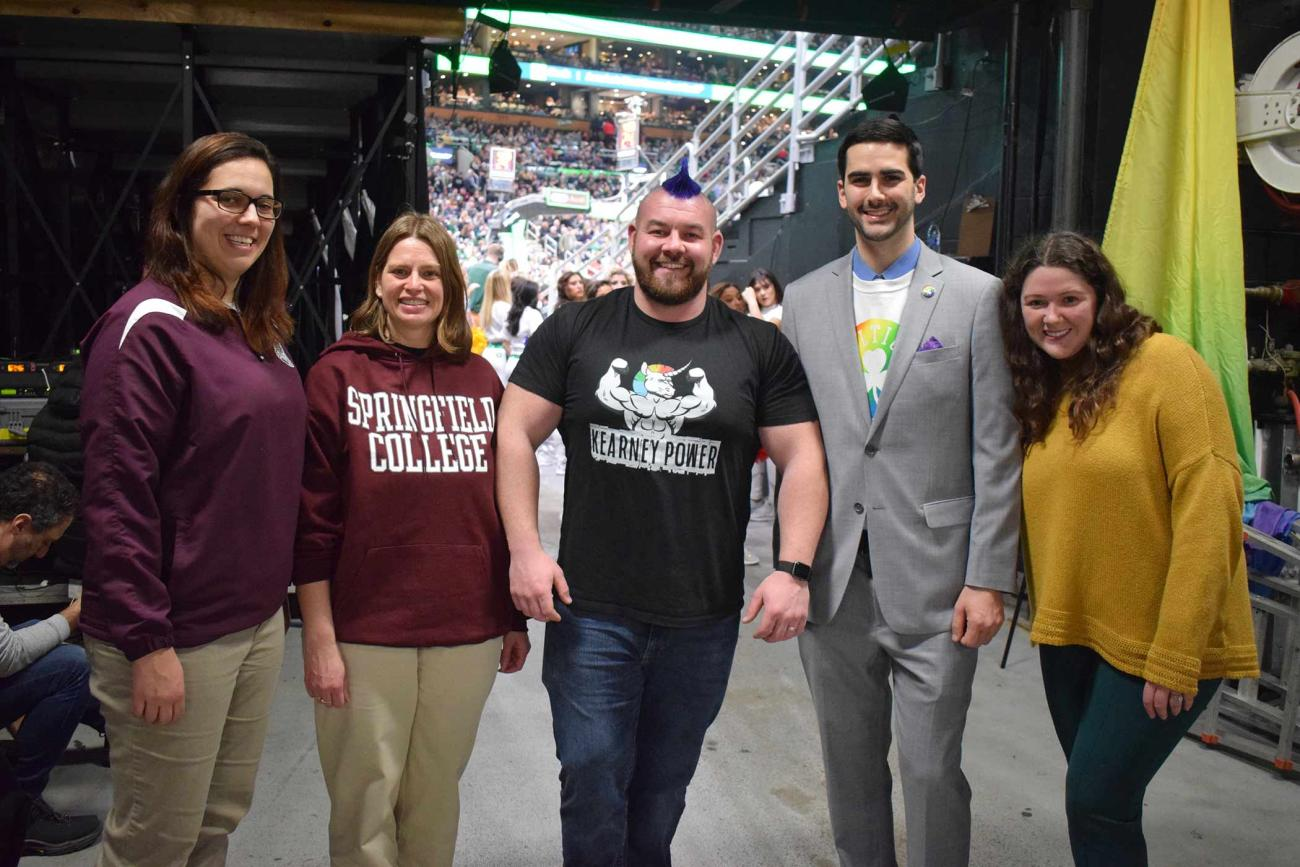 Springfield College graduate Rob Kearney '13, G'15 was recognized with the Heroes Among Us Award on Friday, Feb.7 at the Boston Celtics Pride Night Celebration at TD Garden in Boston.