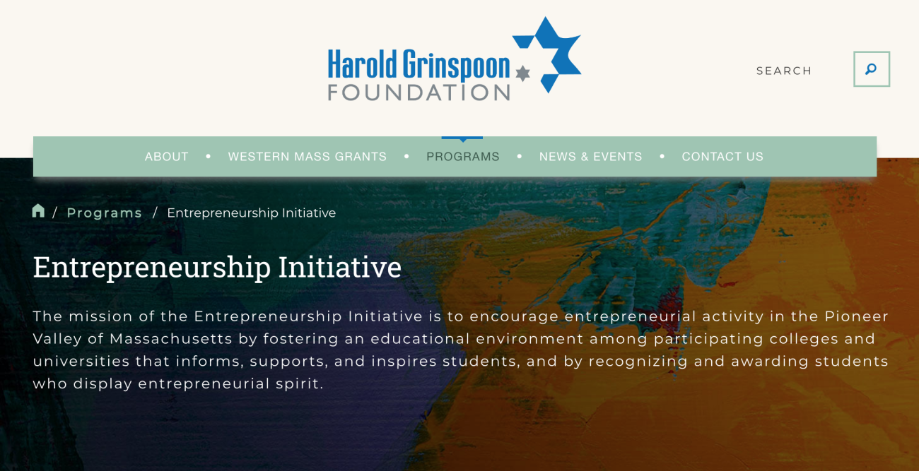 Springfield College students were recognized by the Harold Grinspoon Charitable Foundation Entrepreneurship Initiative showcase for the students' creative entrepreneurship efforts.