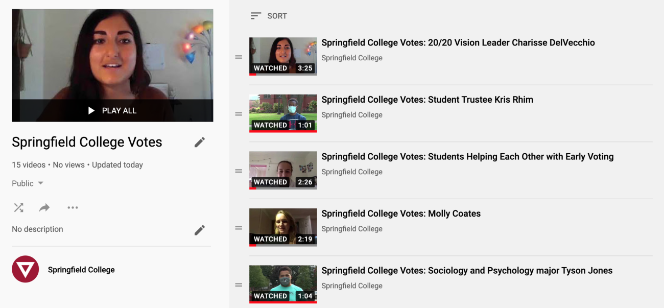 Check out the Springfield College YouTube Account to hear from Springfield College students regarding their commitment to the voting process and helping fellow students cast their ballot.