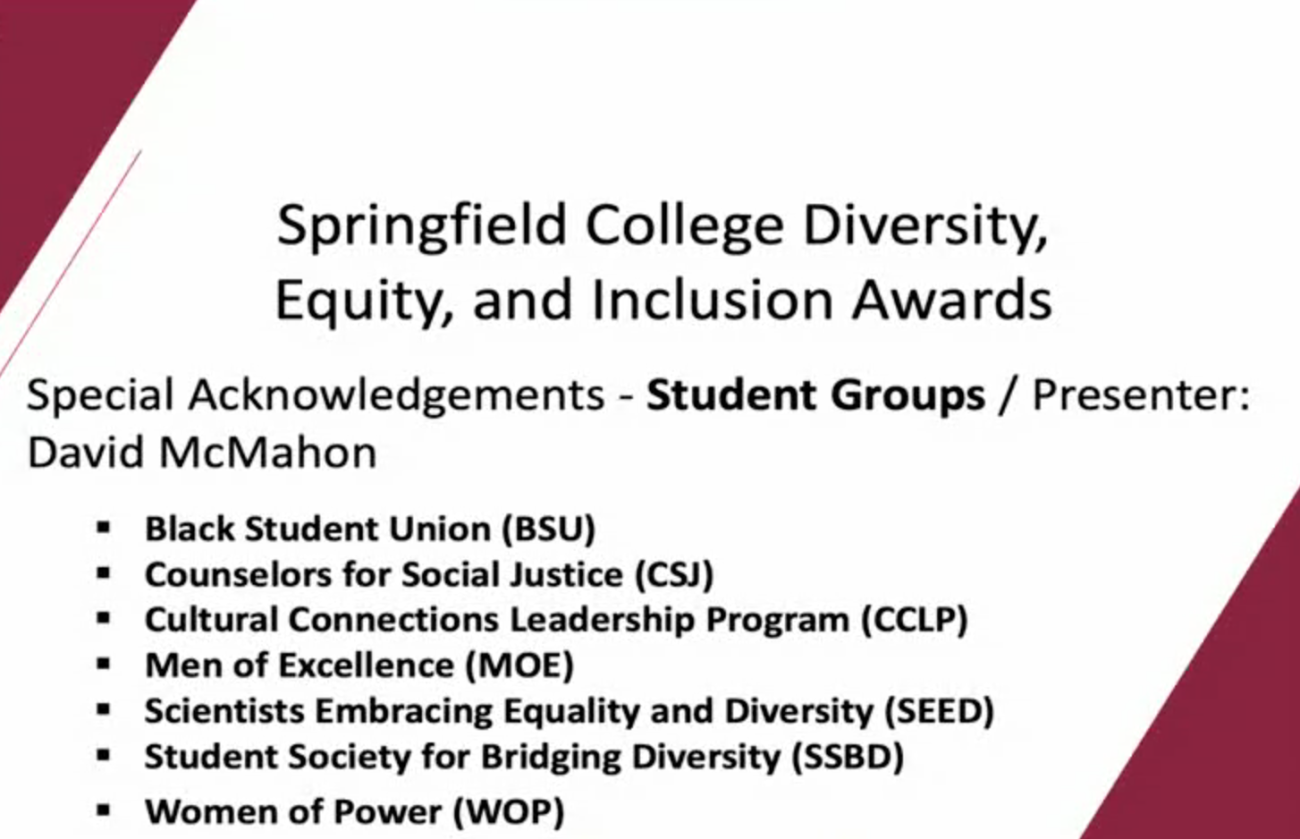 Special Acknowledgements - Student Groups / Presenter: David McMahon   Black Student Union (BSU) Counselors for Social Justice (CSJ) Cultural Connections Leadership Program (CCLP) Latinx Student Organization (LSO) Men of Excellence (MOE) Scientists Embracing Equality and Diversity (SEED) Student Society for Bridging Diversity (SSBD) Women of Power (WOP)