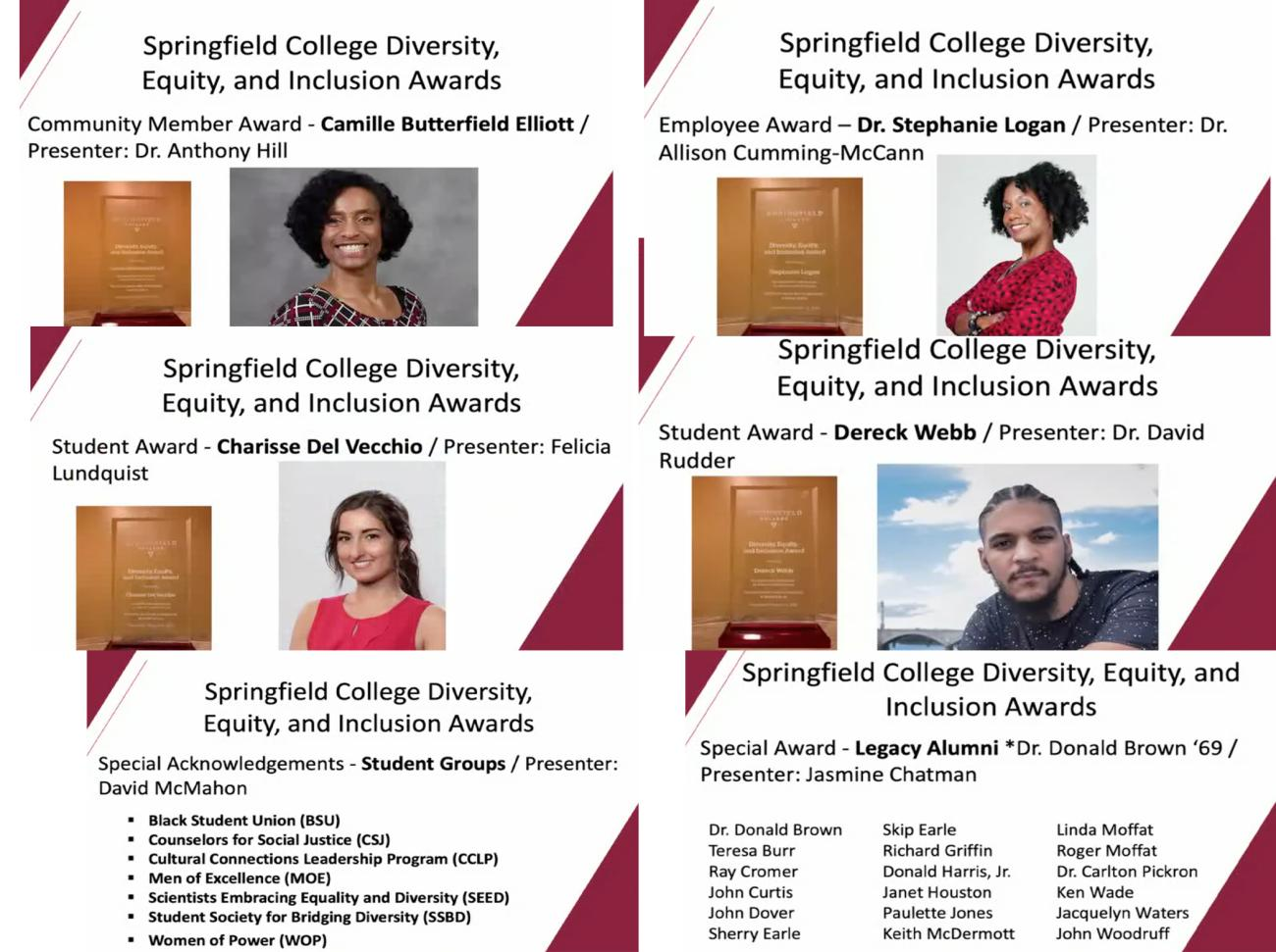 As part of the Springfield College eighth annual Martin Luther King Jr. Lecture, the third annual Springfield College Diversity, Equity, and Inclusion Awards were presented to members and student-groups within the Springfield College community, as well as the Springfield community. The awards recognize those who have made a significant contribution to diversity and inclusion on campus or in the Springfield community.