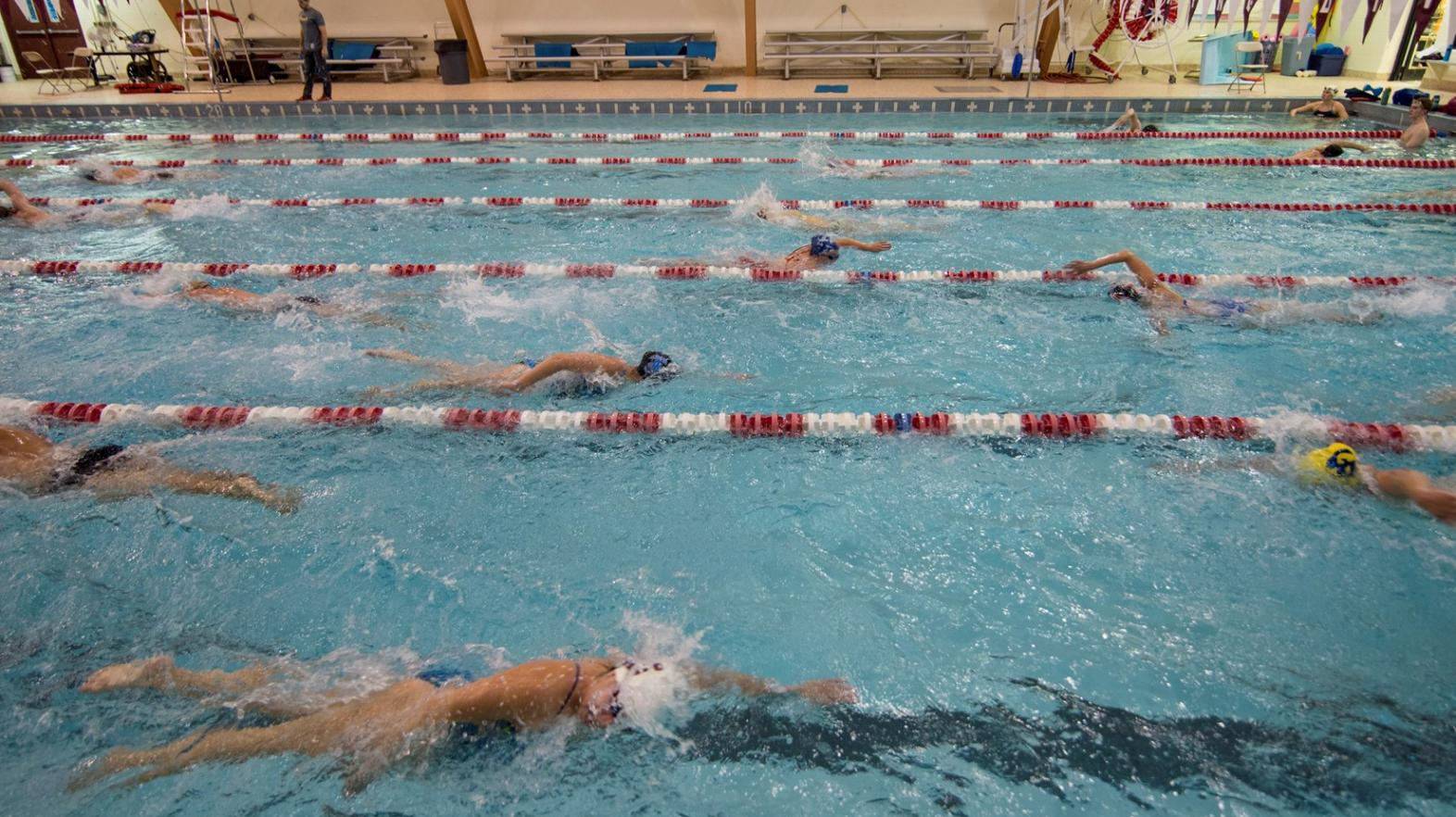 Members of the swim team take advantage of the Springfield College Art Linkletter Natatorium