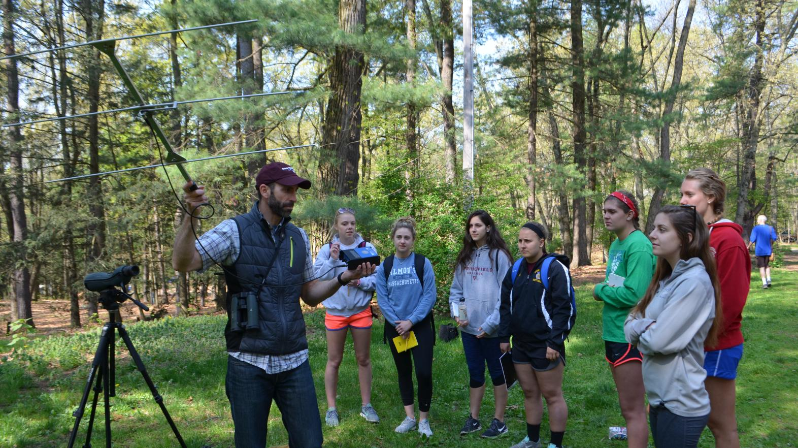 Professor Justin Compton speaks to his environmental education class students at East Campus