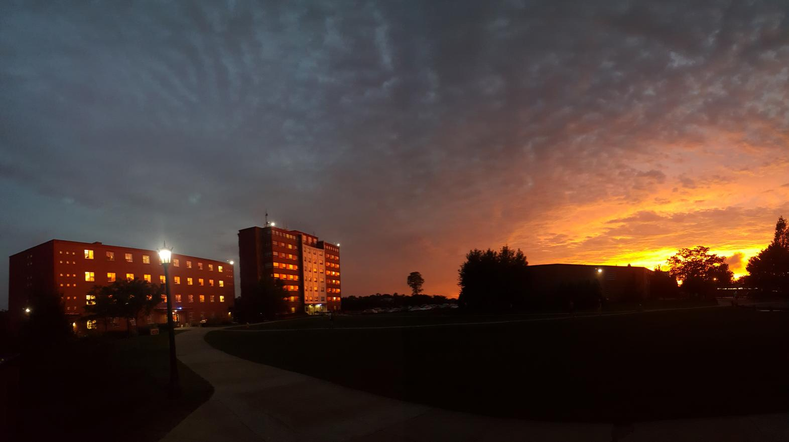 The sunsets near International Hall are unparalleled as shown in this photo by Springfield College student Bryttnie Thomas