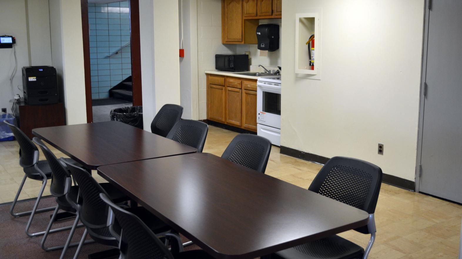 The common area, including kitchen, in Massasoit residence hall.