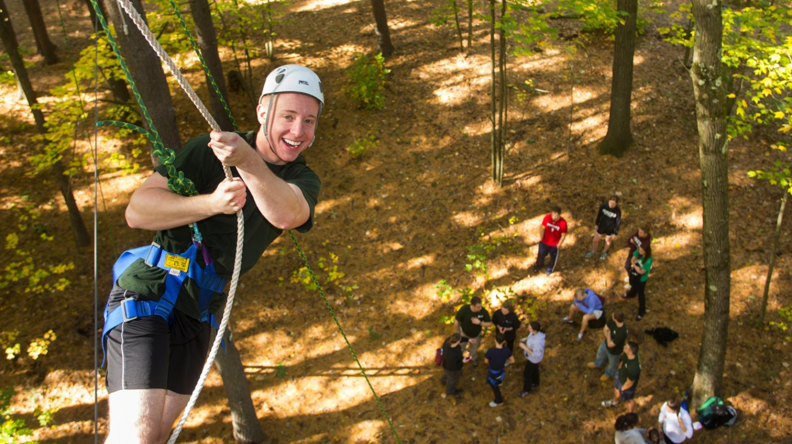 Students on the ropes course enjoy East Campus at Springfield College