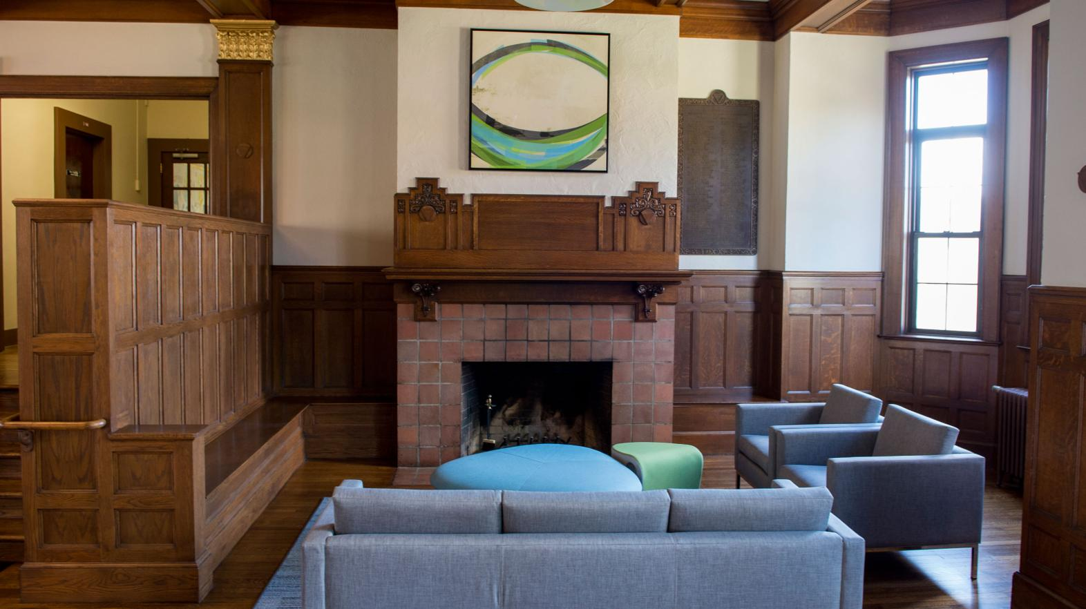 Carlisle Foyer, located in Alumni Hall, features a fireplace and lounge area for students.