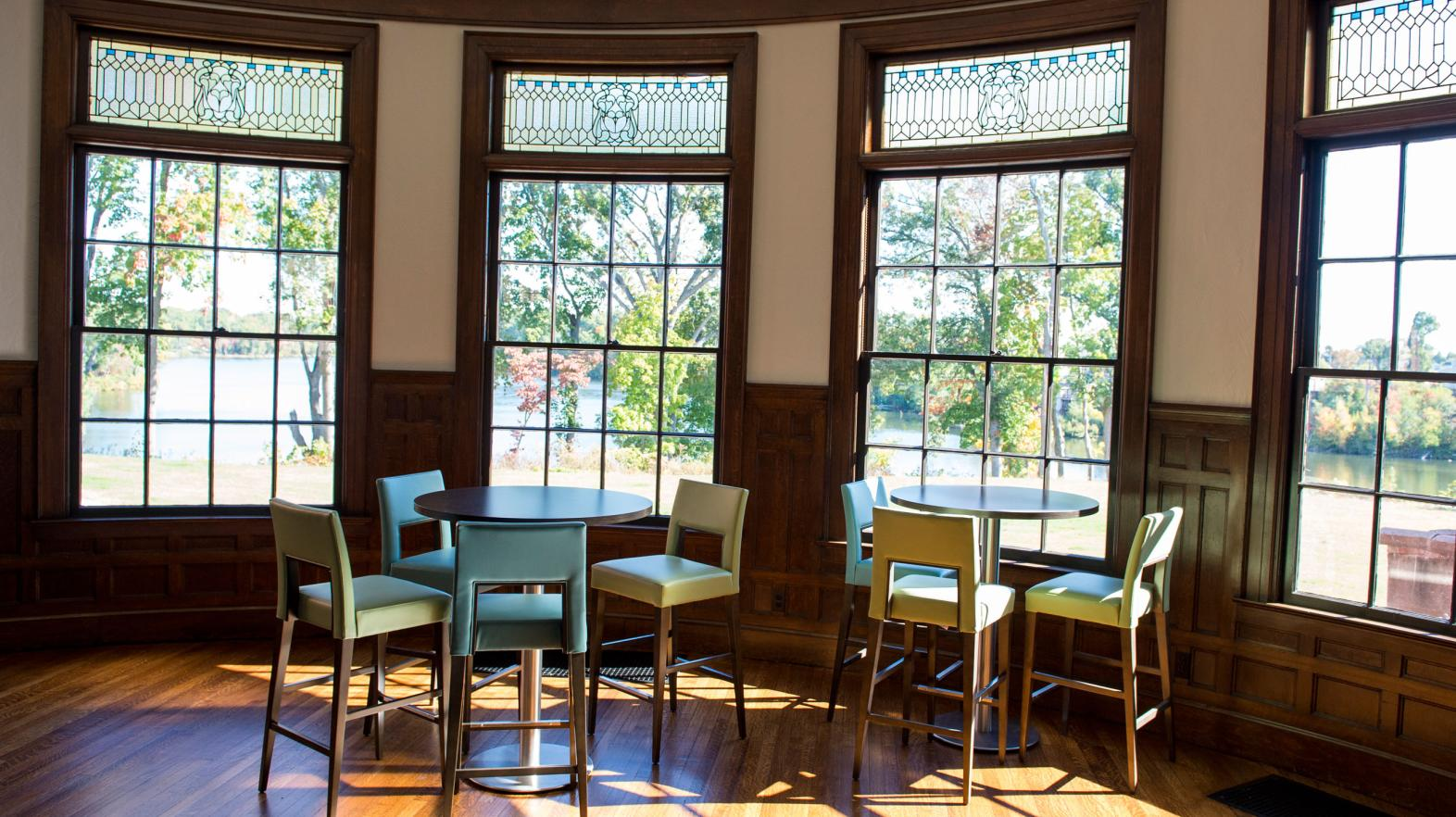 There is seating space for students to study or hang out in Carlisle Foyer in Alumni Hall.