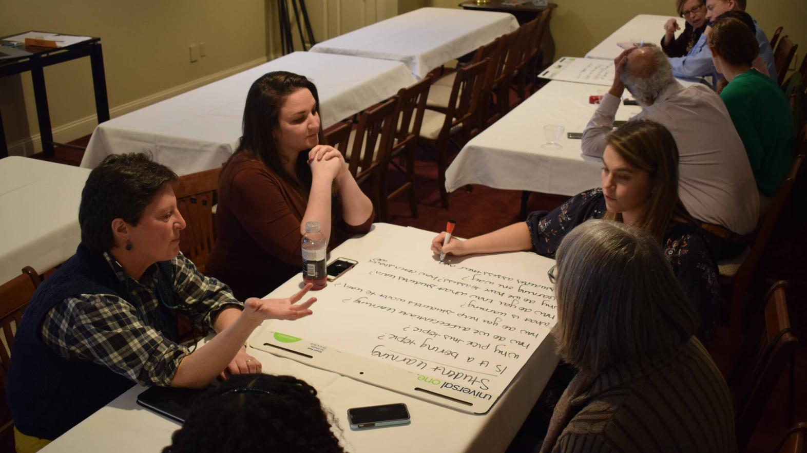 Four women sit around a large poster brainstorming ideas