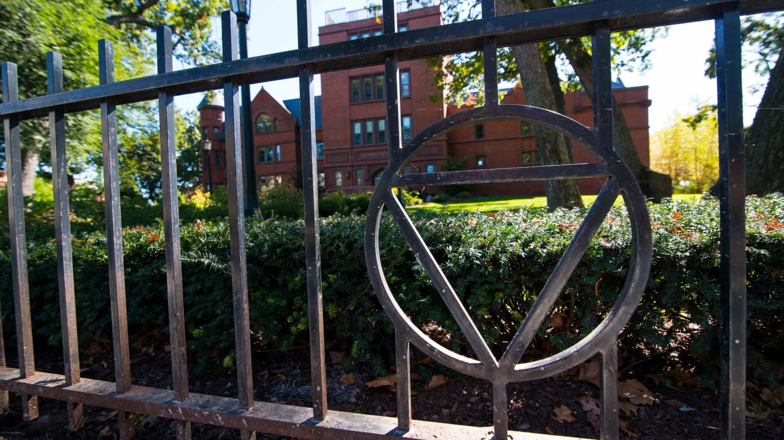 Triangle in a fence outside Judd Gymnasia.