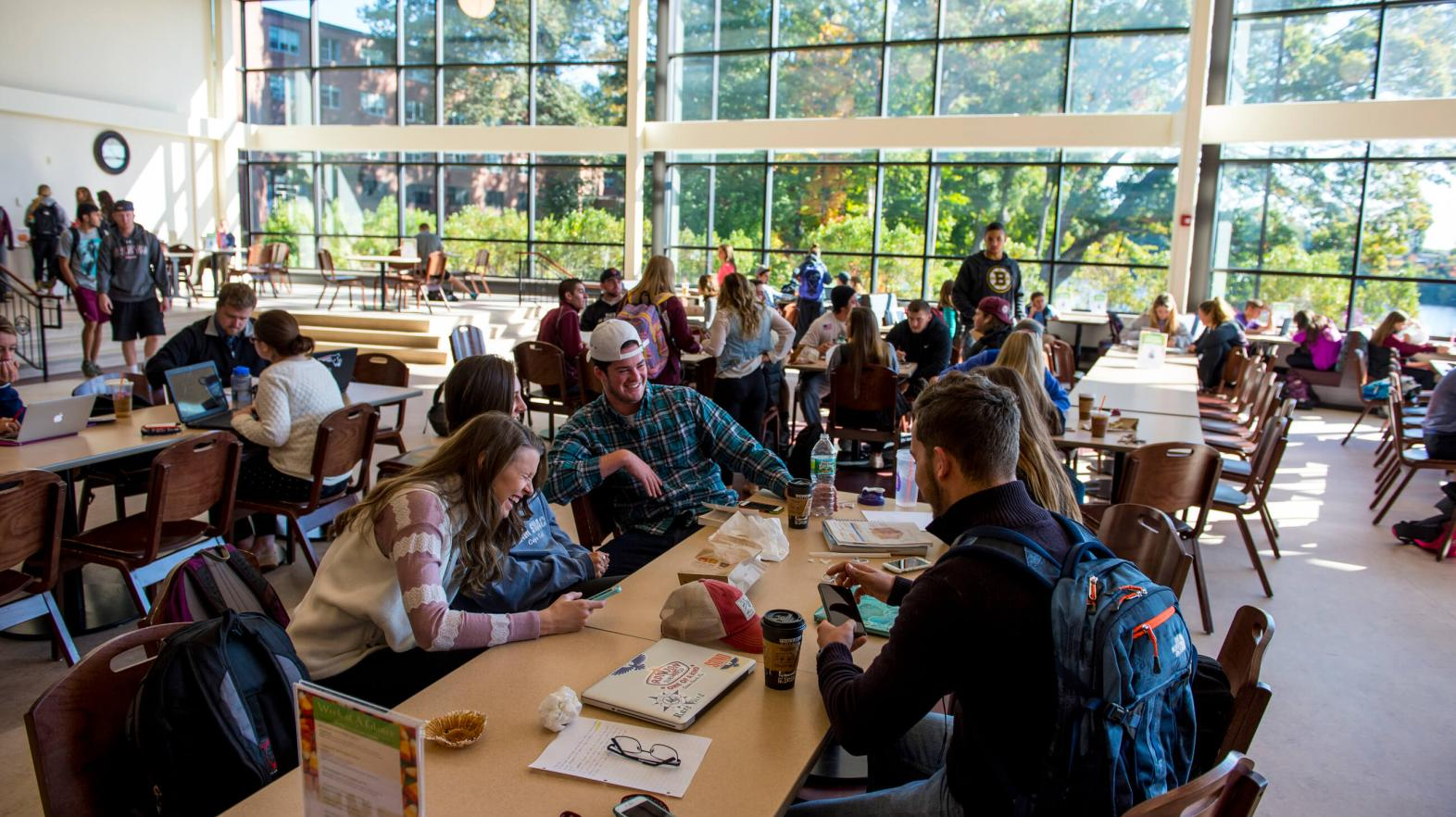 Students gather in Flynn Campus Union to eat, study, and socialize.