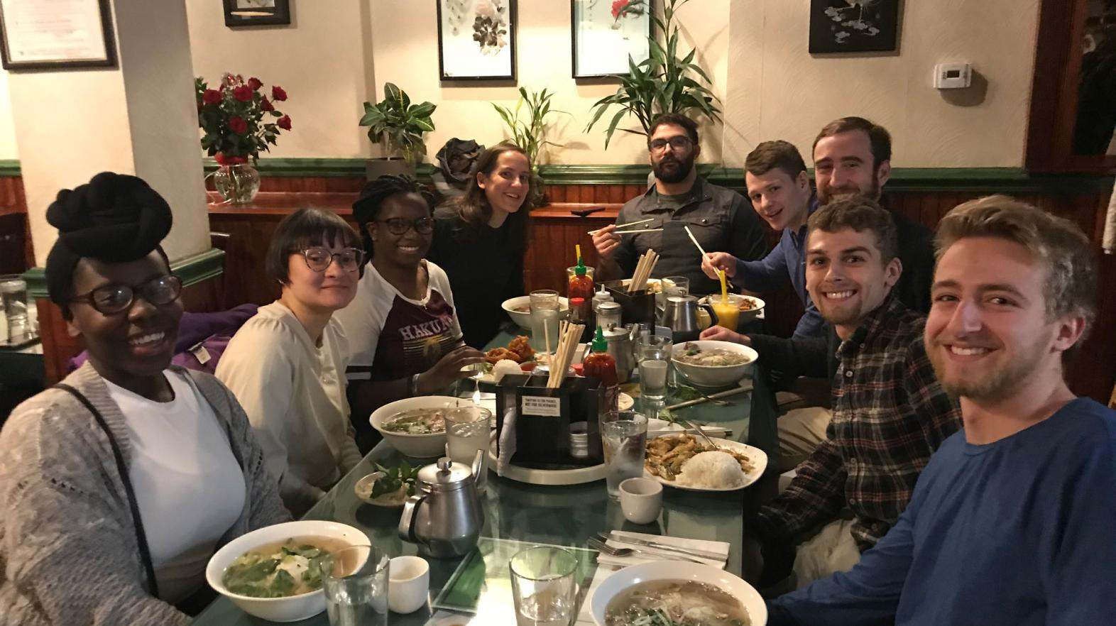 Students and professors from the philosophy and religion minors are out to dinner at Pho Saigon in Springfield