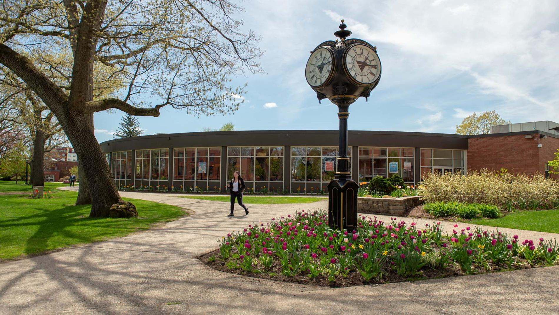 Campus view with clock