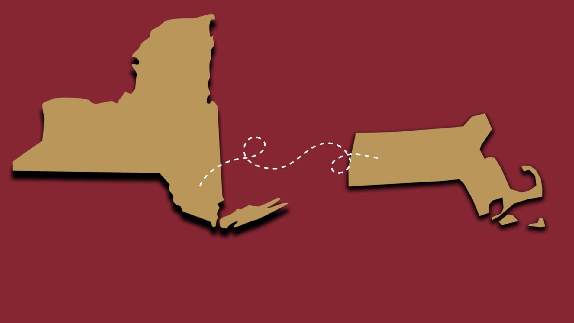 Outlines of the state of NY and MA