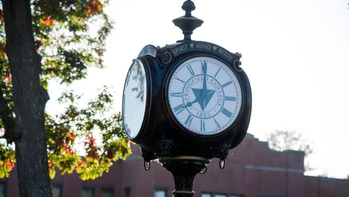 Springfield College clock on the campus green