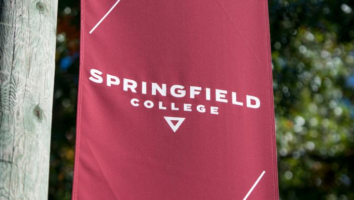 Springfield College banner flag on Alden Street