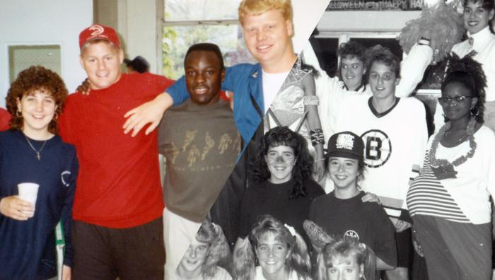 Group collage of 1991 Springfield College students