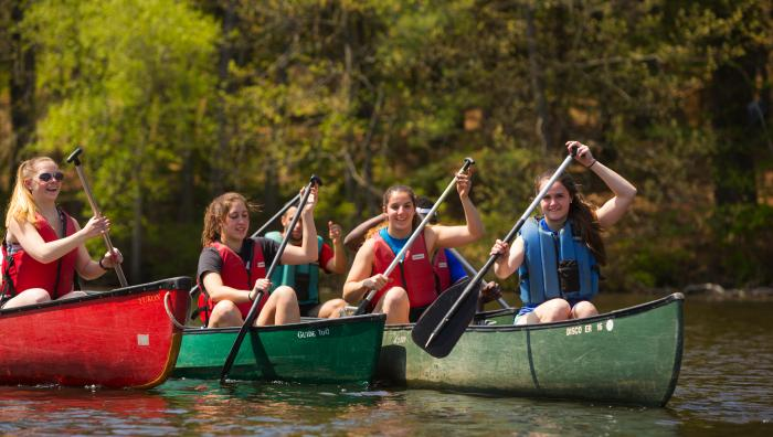Students canoeing at Outdoor Pursuits