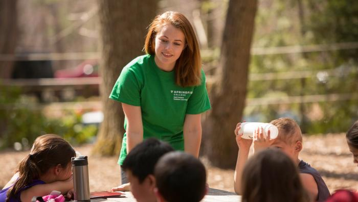 Student leading spring explorers at East Campus