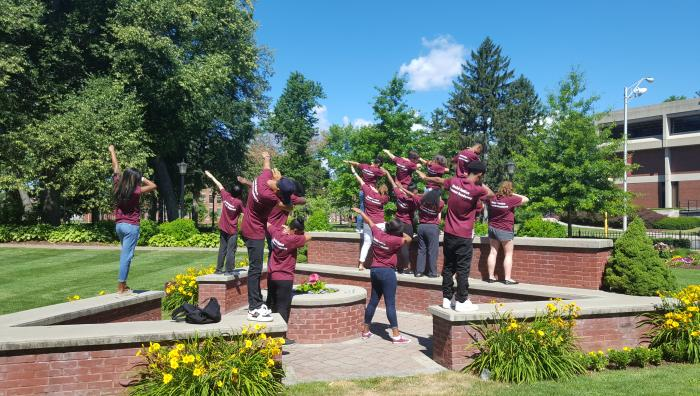 Students doing the dab at Springfield College
