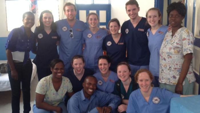 Physical therapy and occupational therapy students on alternative spring break in Haiti