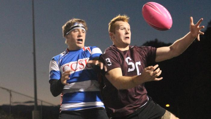 Springfield College students play rugby against CCSU