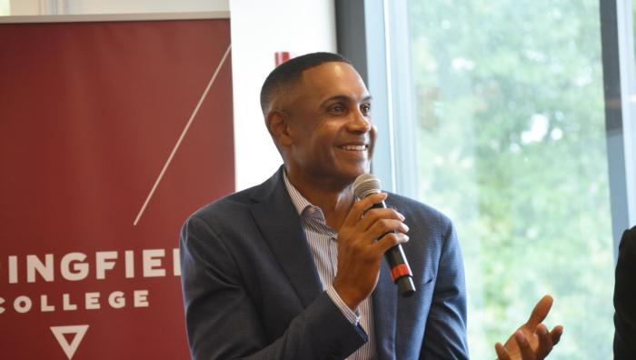 Grant Hill speaks at Springfield College.