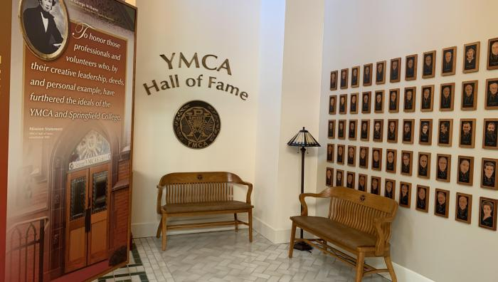Photo of Springfield College's Y museum Hall of Fame section