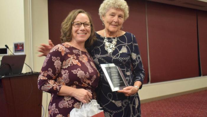 At left, Springfield College School of Physical Education, Performance and Sport Leadership Dean Tracey Matthews and 2019 Peter V. Karpovich keynote speaker Judith Rink