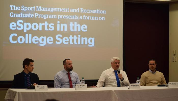 Panelists included Rich Linley, a Springfield College Sport Management student, Kyle Magoffin, an administrator and coach at Mahar Regional High School, Alan Ritacco, the dean of the School of Design and Technology at Becker College, and Ariel Rodriguez, the program director of recreation management at Springfield College.