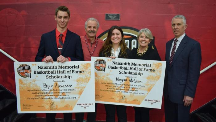 Springfield College and the Naismith Memorial Basketball Hall of Fame presented the seventh annual Naismith Memorial Basketball Hall of Fame Scholarship to Springfield College sport management students Bryce Alexander and Megan McGloin. The formal presentation was made during the 2019 Spalding Hoophall Classic at Blake Arena.