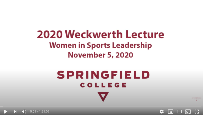 "The Springfield College Department of Sport Management and Recreation hosted its annual Weckwerth Lecture on Thursday, Nov. 5, 2020, titled ""Women in Sport Leadership."""